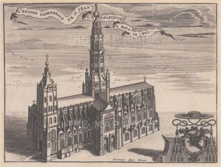 "Harrewyn: Church of St. John the Evangelist, Brussels. c1750. An original antique copper engraving. 8"" x 6"". [BELp187]"