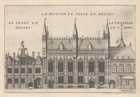 """de la Feuille: Bruges. c1720. An original colour antique copper engraving. 8"""" x 6"""". [BELp260]"""