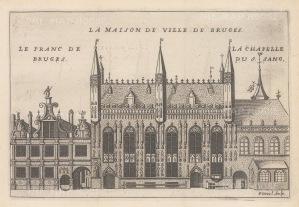 """de la Feuille: Town Hall, Bruges. c1720. An original antique copper engraving. 8"""" x 6"""". [BELp260]"""