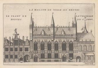 """Devel: Bruges. c1720. An original colour antique copper engraving. 8"""" x 6"""". [BELp260]"""