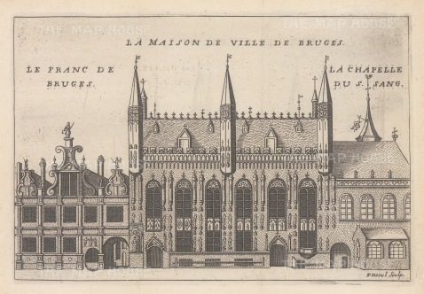 "de la Feuille: Bruges. c1720. An original colour antique copper engraving. 8"" x 6"". [BELp260]"