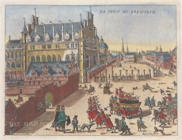 "Van der Aa: Brussels. c1700. A hand coloured original antique copper engraving. 7"" x 6"". [BELp265]"