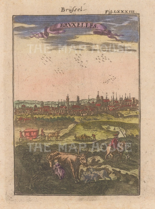 "Mallet: Brussels. 1719. A hand coloured original antique copper engraving. 4"" x 6"". [BELp268]"