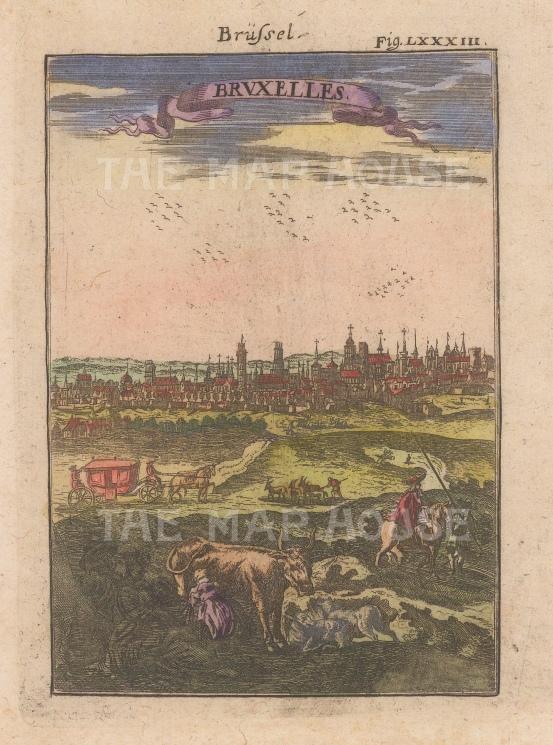 "Mallet: Brussels. 1719. A hand coloured original antique copper engraving. 4"" x 6"". [BELp268]"