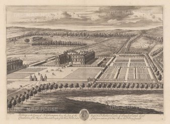 View of the 16th century house and grounds in continuing ownership of the Spencer family.
