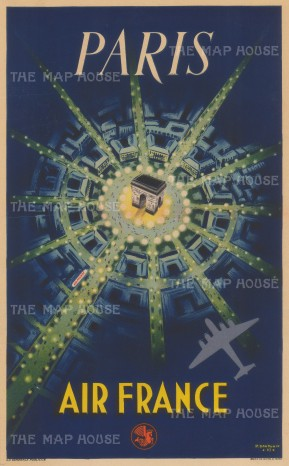 "Air France: Paris. 1949. An original vintage chromolithograph. 12"" x 19"". [FR3245]"