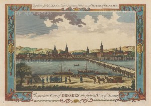 "Millar: Dresden. c1770. A hand coloured original antique copper engraving. 12"" x 9"". [GERp1193]"