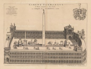 Circus Flaminius: Chariot Racing in the hippodrome located at the south end of Campus Martius in the area of Teatro Marcello on the Tiber. After Johannes Blaeu.