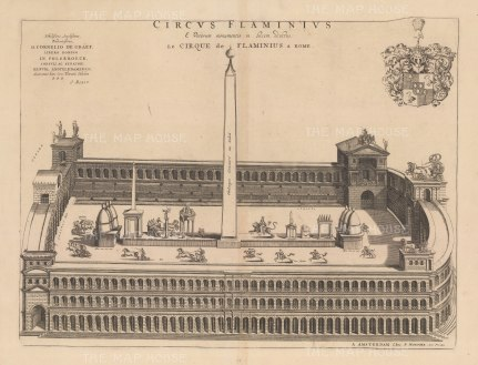 Chariot Rascing in the hippodrome located at the south end of Campus Martius in the area of Teatro Marcello on the Tiber. After Johannes Blaeu.