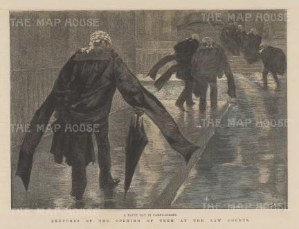 "Illustrated London News: Carey Street. 1886. A hand coloured original antique wood engraving. 9"" x 6"". [LDNp10673]"
