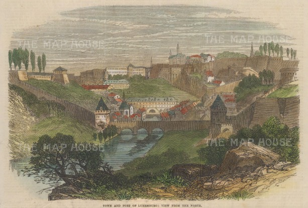 """Illustrated London News: Luxembourg. 1867. A hand coloured original antique wood engraving. 10"""" x 7"""". [LUXp17]"""