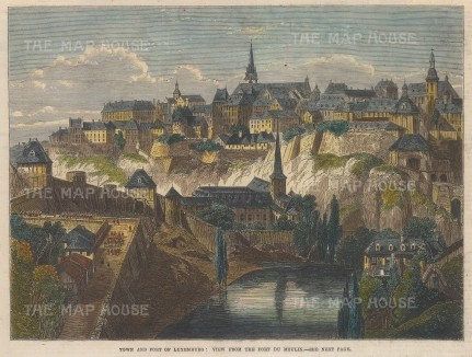 """Illustrated London News: Luxembourg. 1867. A hand coloured original antique wood engraving. 10"""" x 7"""". [LUXp18]"""