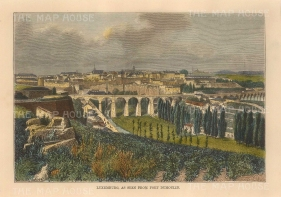 """Brown: Luxembourg. 1885. A hand coloured original antique wood engraving. 8"""" x 6"""". [LUXp6]"""