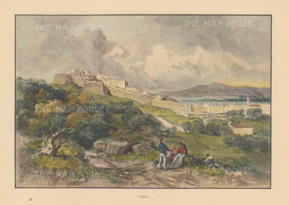 "Picturesque Mediterranean: Ibiza. c1875. A hand coloured original antique wood engraving. 10"" x 7"". [MEDp261]"