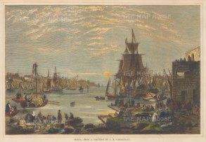 "Illustrated London News: Malta. 1856. A hand coloured original antique wood engraving. 14"" x 10"". [MEDp277]"