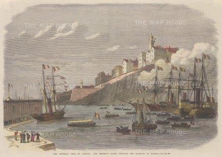 "Illustrated London News: Bastia, Corsica. 1869. A hand coloured original antique wood engraving. 14"" x 10"". [MEDp280]"