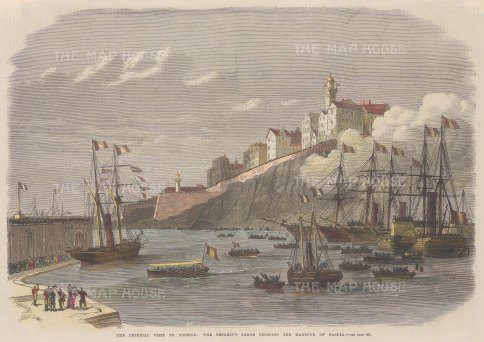 "Illustrated London News: Bastia, Corsica. 1869. A hand coloured original antique wood engraving. 14"" x 10"". [MEDp280]"