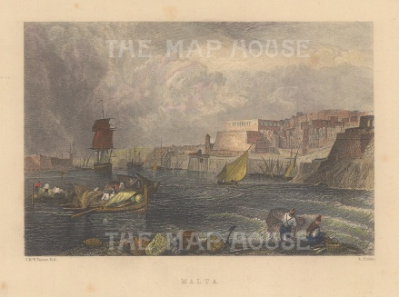 "Finden: Valetta, Malta. c1850. A hand coloured original steel engraving. 6"" x 5"". [MEDp301]"