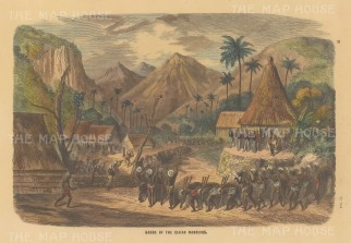 "Collins: Fiji. c1870. A hand coloured original antique wood engraving. 9"" x 6"". [PLYp258]"