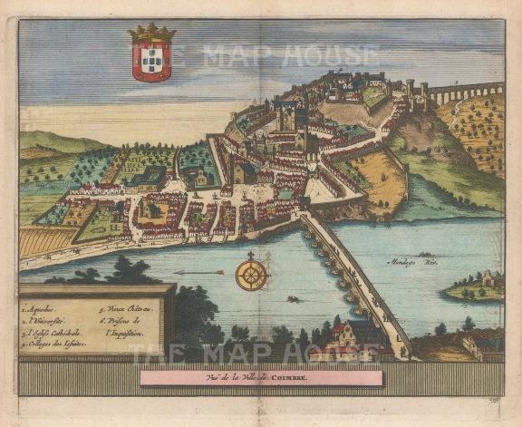 """Van der Aa: Coimbra. 1727. A hand coloured original antique copper engraving. 7"""" x 5"""". [PORp189]"""