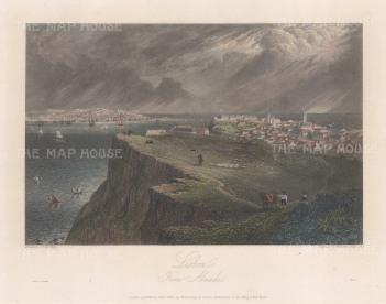 "Batty: Lisbon. 1830. A hand coloured original antique steel engraving. 9"" x 6"". [PORp98]"