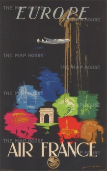 Europe: Travel poster advertising Air France services to Europe with tourist destinationsMincluding Tower Bridge, the Acropolis, and St Mark's Square. By Edmond Maurus.