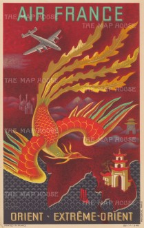 "Air France: Orient - Extreme-Orient. 1948. An original vintage chromolithograph. 12"" x 19"". [SEAS4944]"