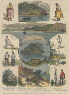 Port Hamilton (Geomun-do) : Three panoramas of the Port and island of Sunhodo with nine sketches of inhabitants.