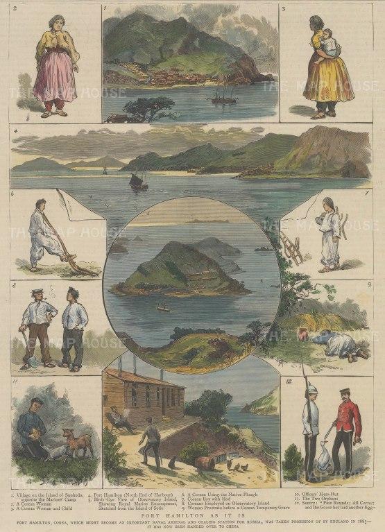 "The Graphic Magazine: Port Hamilton (Geomun-do), Taiwan. 1883. A hand coloured original antique wood engraving. 9"" x 13"". [SEASp1693]"