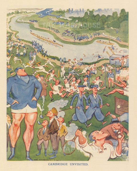 "Bateman: Cambridge Unvisited. 1922. An original vintage chromolithograph. 7"" x 10"". [SPORTSp3614]"