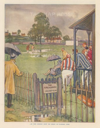"Punch: Arcadians Cricket Club. 1928. An original vintage chromolithograph. 7"" x 10"". [SPORTSp3618]"