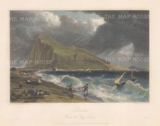 "Batty: Gibraltar. 1830. A hand coloured original antique steel engraving. 10"" x 8"". [SPp1009]"