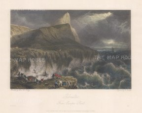 "Batty: Gibraltar. 1830. A hand coloured original antique steel engraving. 10"" x 8"". [SPp1010]"