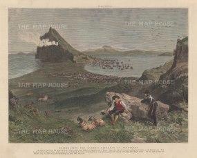 """Graphic Magazine: Gibraltar. 1891. A hand coloured original antique wood engraving. 12"""" x 10"""". [SPp1031]"""