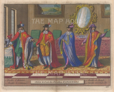 "Van der Aa: Spanish Knights. 1727. A hand coloured original antique copper engraving. 6"" x 5"". [SPp1044]"