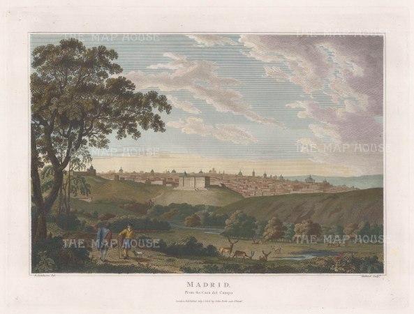 "Swinburne: Madrid. 1808. A hand coloured original antique copper engraving. 16"" x 12"". [SPp1073]"