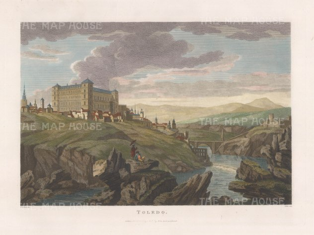 "Swinburne: Toledo. 1806. A hand coloured original antique copper engraving. 16"" x 12"". [SPp1089]"