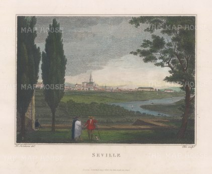 "Swinburne: Seville. 1806. A hand coloured original antique copper engraving. 16"" x 12"". [SPp1090]"