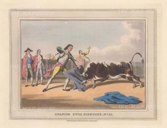 "Orme: Bull Fighting. 1813. An original colour antique aquatint. 9"" x 7"". [SPp1099]"