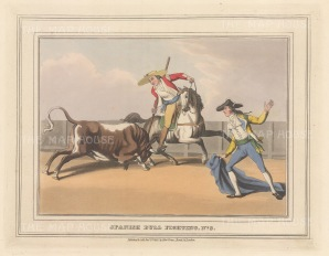"Orme: Bull Fighting. 1813. An original colour antique aquatint. 9"" x 7"". [SPp1100]"