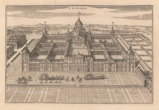 """de Fer: Escurial. 1705. An original antique copper engraving. 14"""" x 9"""". [SPp641]"""