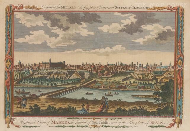 "Millar: Madrid. 1770. A hand coloured original antique copper engraving. 11"" x 8"". [SPp984]"