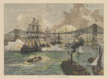 "Illustrated London News: Brooklyn Bridge, New York City. 1883. A hand coloured original antique wood engraving. 13"" x 9"". [USAp4963]"