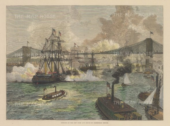 "Illustrated London News: Brooklyn Bridge, New York City. 1883. A hand coloured original antique wood engraving. 13"" x 9"". [USAp4963]"