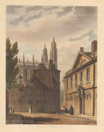 "Ackermann: Trinity Hall, Cambridge. 1815. An original colour antique aquatint. 8"" x 10"". [CAMBSp302]"