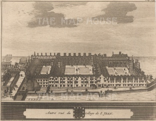 "Van der Aa: St John's College, Cambridge. 1727. An original antique copper engraving. 6"" x 5"". [CAMBSp404]"