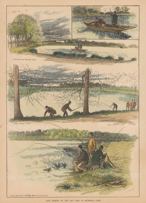 "Illustrated Sporting and Dramatic News: Pike Fishing. 1882. A hand coloured original antique wood engraving. 10"" x 14"". [FIELDp1567]"