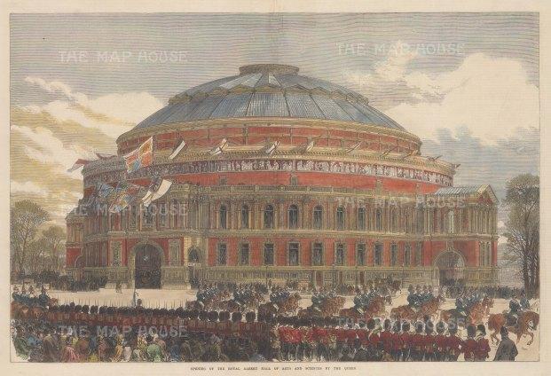 "Illustrated London News: Royal Albert Hall. 1871. A hand coloured original antique wood engraving. 20"" x 14"". [LDNp10695]"