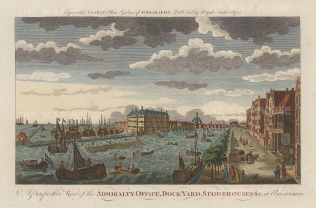 "Bankes: Amsterdam. c1780. A hand coloured original antique copper engraving. 11"" x 8"". [NETHp163]"