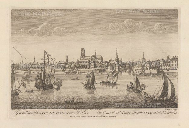 "Sayer: Rotterdam. 1774. An original antique copper engraving. 18"" x 12"". [NETHp187]"